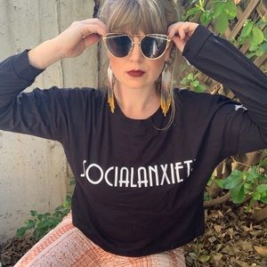 Vintage Tops - Long Sleeved Printed Graphic Tee Social Anxiety